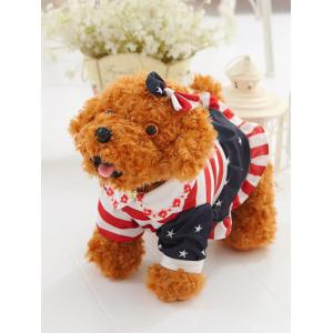 Dressed Peter Pan Collar Bowknot Flower Teddy Dog Toy - Light Brown - Stand 40cm