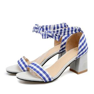 Plaid Ankle Strap Sandals -