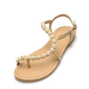 PU Leather Flat Heel Sandals - GOLDEN 38