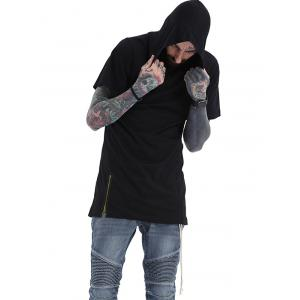 Hooded Side Drawstring Design Long Zipper T-Shirt