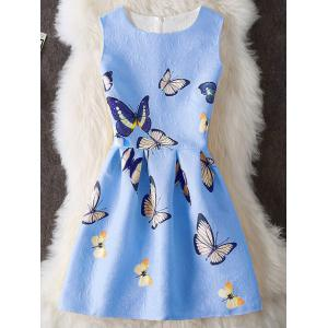 Butterfly Print Embossed Sleeveless Mini Dress - Blue - Xl