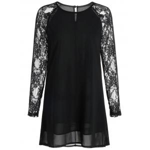 Lace Long Sleeve Chiffon Mini Shift Dress - Black - Xl