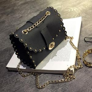 Rivet Chains Scalloped Crossbody Bag - Black