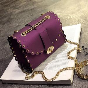 Rivet Chains Scalloped Crossbody Bag - Purple