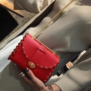 Rivet Chains Scalloped Crossbody Bag - RED