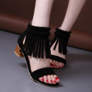 Weaving Zipper Fringe Sandals - Black - 41