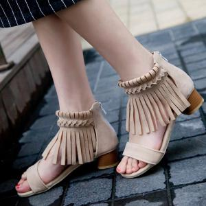Tissage Sandals Zipper Fringe - Abricot 38