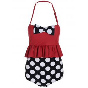 High Waisted Polka Dot Flounce Bikini