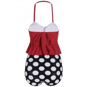 High Waisted Polka Dot Flounce Bikini - RED XL
