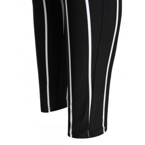 High Waisted Stripe Pants - WHITE AND BLACK XL