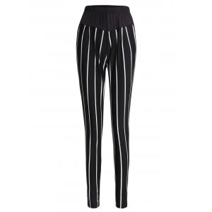 High Waisted Stripe Pants - White And Black - Xl