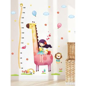 Cartoon Giraffe Print Removable Height Kids Room Wall Sticker
