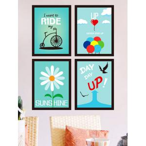 4 Pieces Encourage Quote Photo Frame Wall Sticker Set