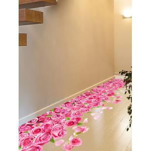 3D Blooming Rose Interior Wall Art Sticker For Toilet - Rose Madder - 60*90cm