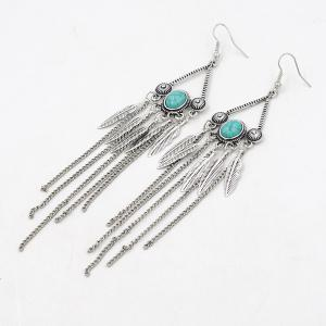 Artificial Turquoise Triangle Fringed Leaf Earrings - SILVER