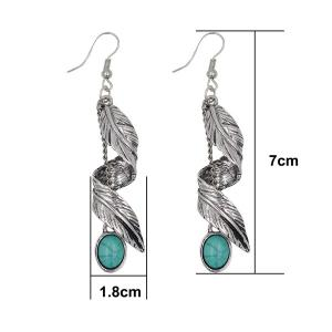 Artificial Turquoise Alloy Leaf Earrings - SILVER