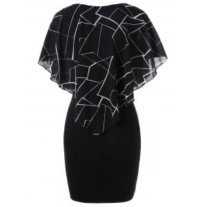 Ruffles Printed Tight Fitted Dress - BLACK M