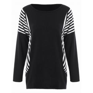Dolman Sleeve Stripe Plus Size Top - Black - 2xl