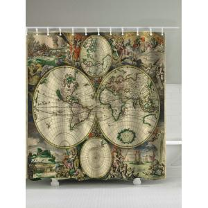 Retro Map Print Polyester Removable Shower Curtain