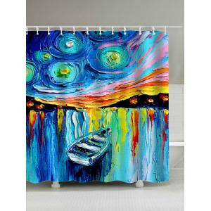 Boat in Lake Oil Painting Polyester Shower Curtain - Colormix - W71 Inch * L79 Inch