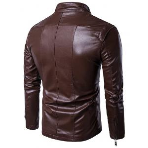 Panel Design Zip Up PU Leather Jacket - COFFEE XL