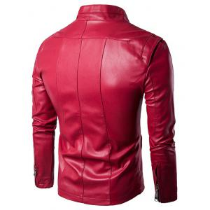 Panel Design Zip Up PU Leather Jacket - WINE RED 2XL