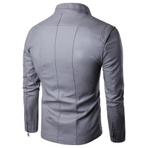 Conception Panel Zip Up PU Leather Jacket -