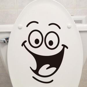 Smile Face Pattern Toilet Wall Art Sticker Custom - Black - 50*70cm