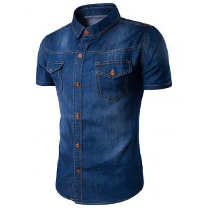 Turndown Collar Bleach Wash Pockets Casual Denim Shirt