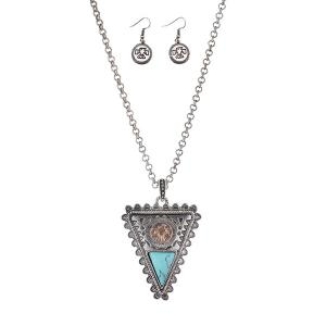 Eagle Totem Faux Gem Triangle Necklace Set