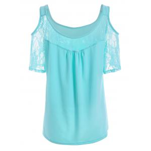 Plus Size Lace Panel Cold Shoulder T-Shirt