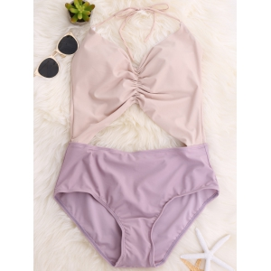 Color Block Backless Halter Swimsuit - LIGHT PURPLE L