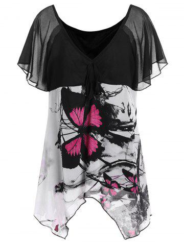 Affordable Plus Size Chiffon Butterfly Print Top - 2XL BLACK Mobile