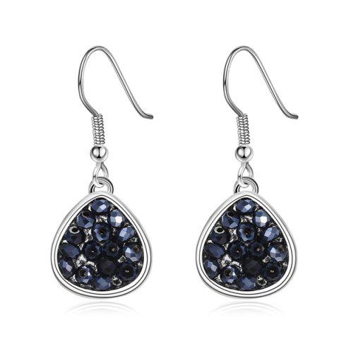 Cheap Teardrop Artificial Crystal Drop Earrings SILVER