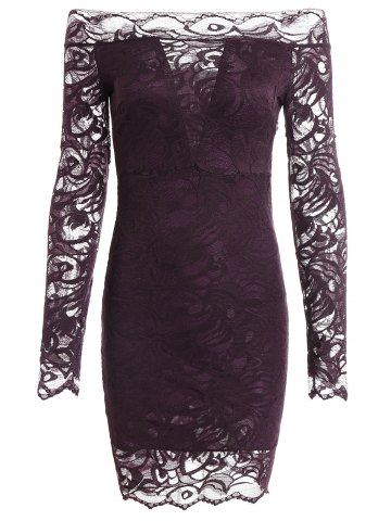 Long Sleeve Off The Shoulder Bodycon Lace Wedding Mini Dress - Concord - Xl