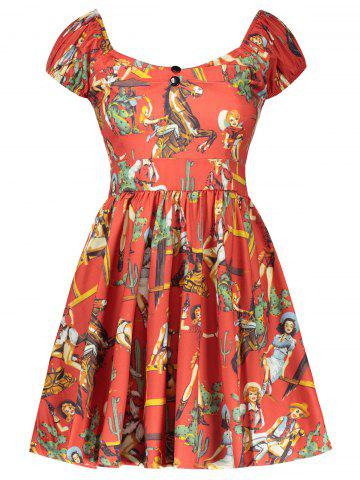 Vintage Figure Printed Fit and Flare Dress - Red - Xl