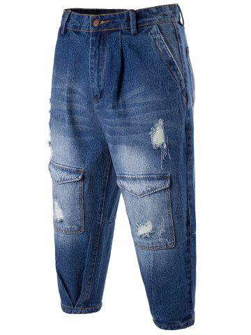 Drop Crotch Distressed Cropped Jeans