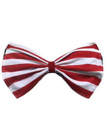 Striped bowknot Bandeau Bikini Rouge L