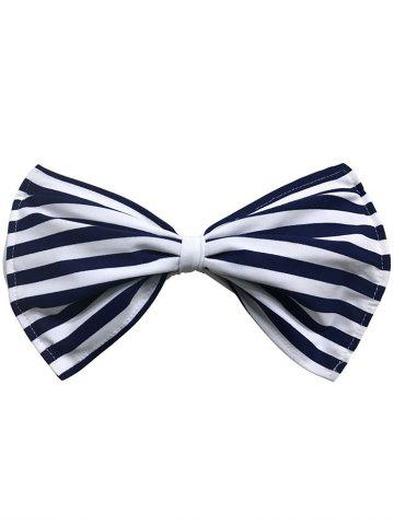Buy Strapless Striped Wirefree Padded Bowknot Bandeau Bikini Bra - XL CADETBLUE Mobile