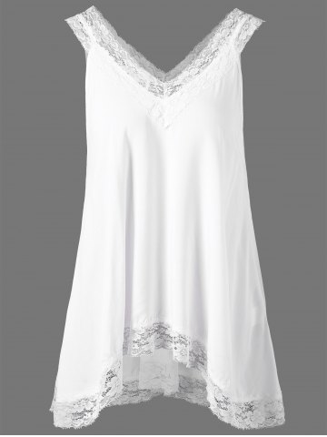 Chic Lace Trim High Low Hem Tank Top WHITE XL