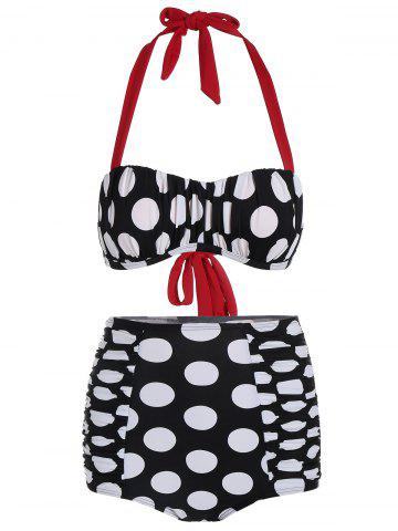 Sale High Waisted Polka Dot Bikini BLACK WHITE XL