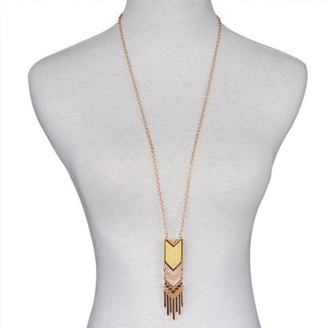 Shop Geometric Fringed Alloy Sweater Chain - GOLDEN  Mobile