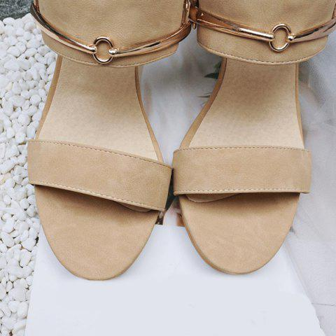 Online Faux Leather Metal Sandals - 37 APRICOT Mobile