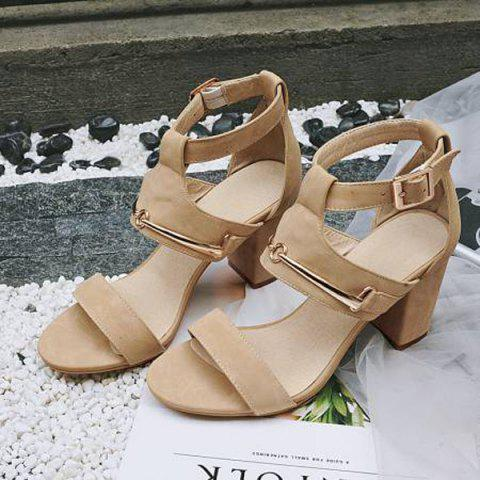 Latest Faux Leather Metal Sandals - 37 APRICOT Mobile