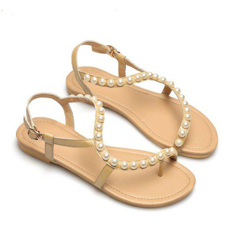 Outfit PU Leather Flat Heel Sandals GOLDEN 38