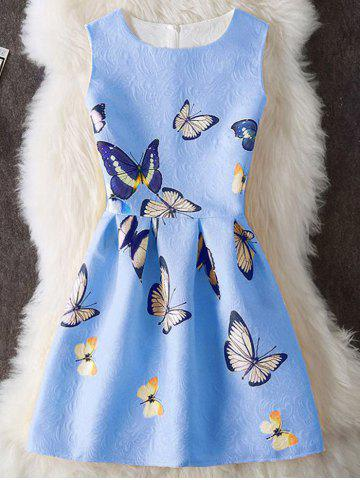 Unique Butterfly Print Embossed Sleeveless Mini Dress BLUE M