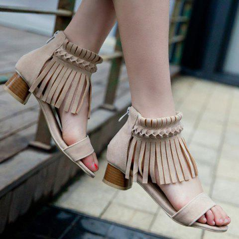 Tissage Sandals Zipper Fringe Abricot 38