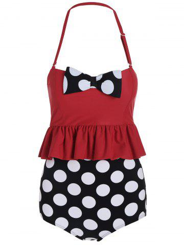 Fashion High Waisted Polka Dot Flounce Bikini RED XL