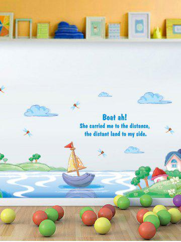 Cartoon Boat Skirting Line Wall Sticker For Kids Room