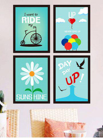 4 Pieces Encourage Quote Photo Frame Wall Sticker Set - Light Green - 60*90cm